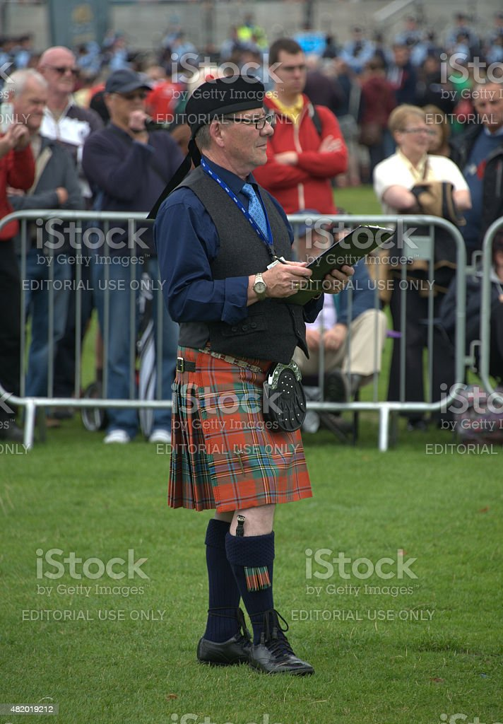 Judge at world pipe band championships stock photo