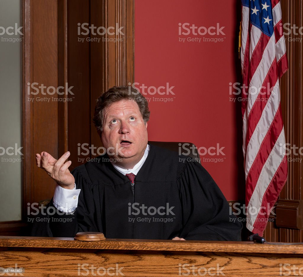 Judge Comically Impatient stock photo