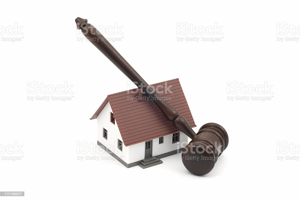 Judge gavel and a house royalty-free stock photo
