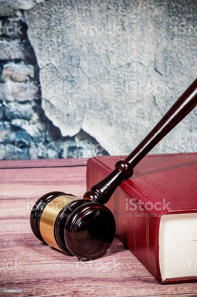 judge gavel and book stock photo