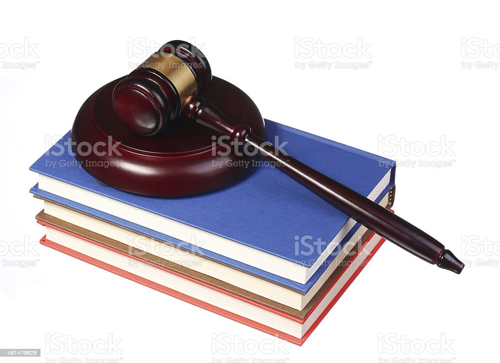 Judge Gavel and Books isolated royalty-free stock photo