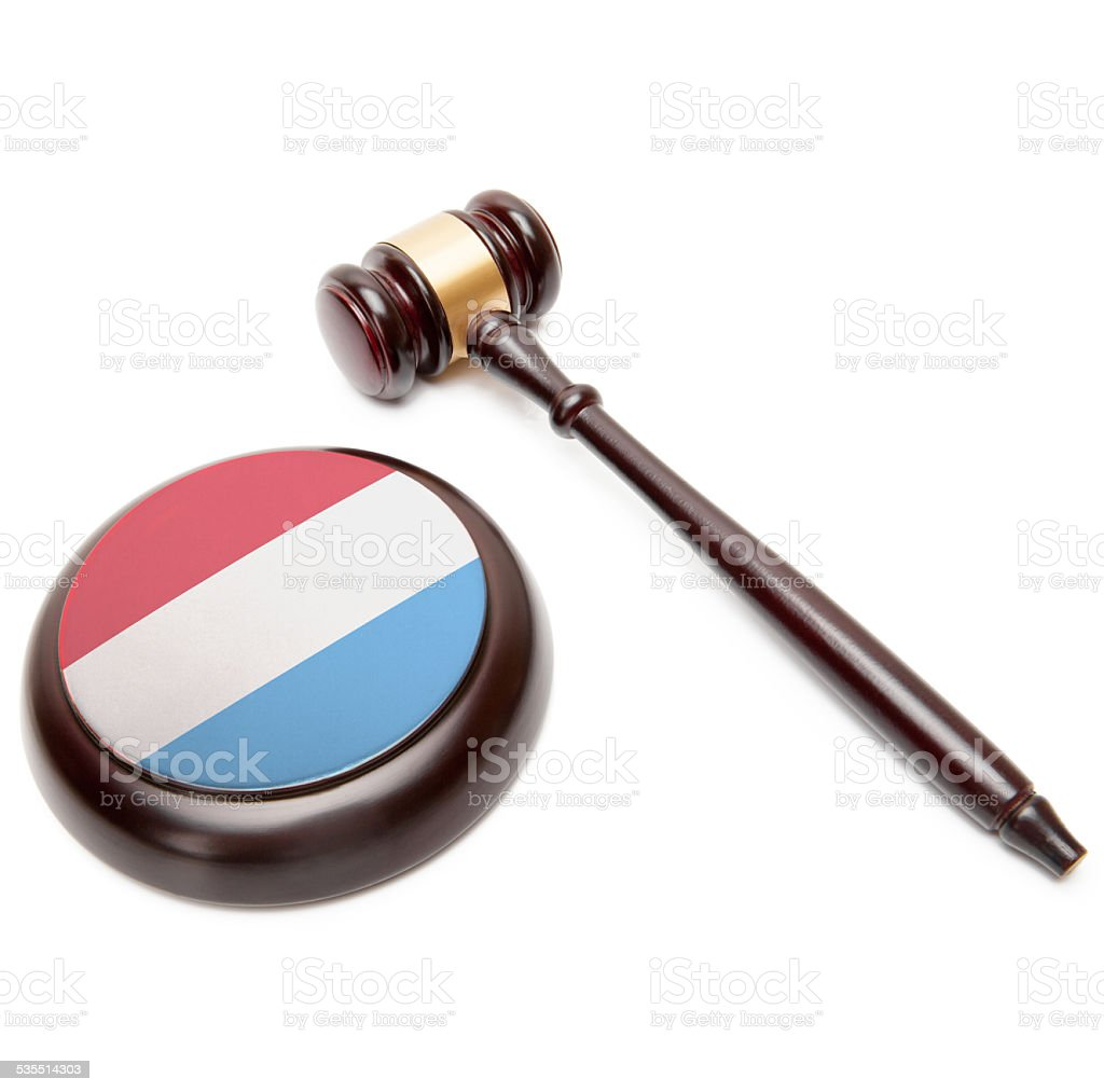 Judge gavel and soundboard with national flag - Luxembourg stock photo