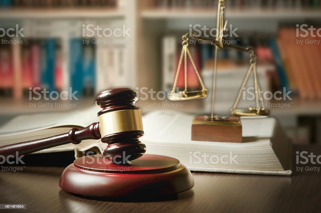 Judge gavel in court stock photo