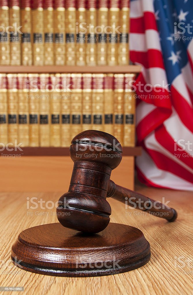 judge gavel, legal books and American Flag stock photo