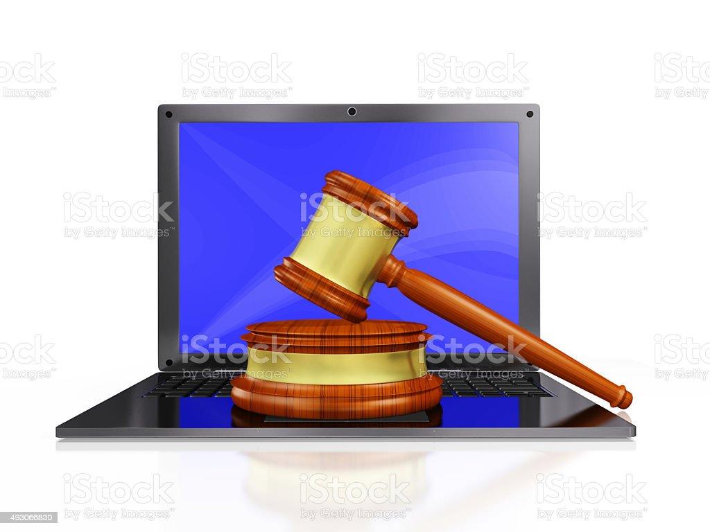 Judge Gavel Mallet on Laptop stock photo