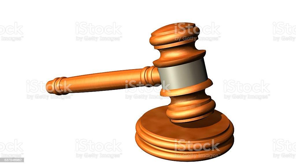 Judge gavel of wood - white on background separated stock photo