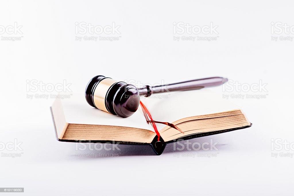 Judge gavel on legal codes. stock photo