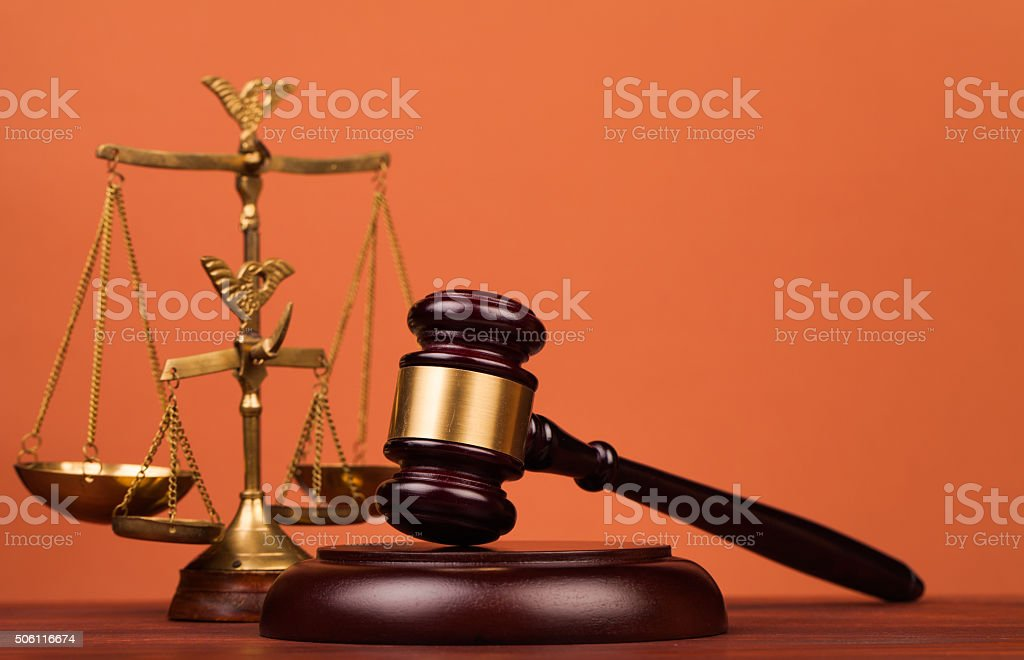 judge gavel on table stock photo