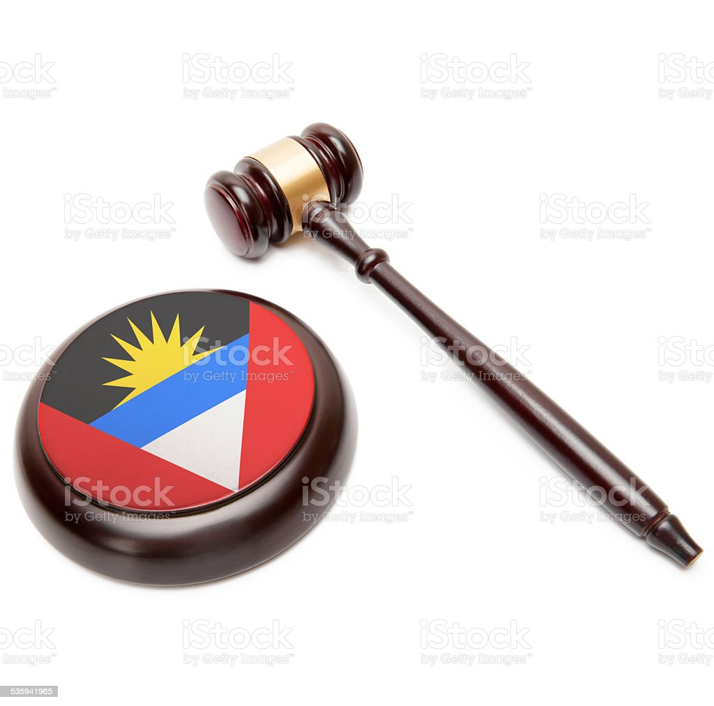 Judge gavel. Soundboard with national flag - Antigua and Barbuda stock photo