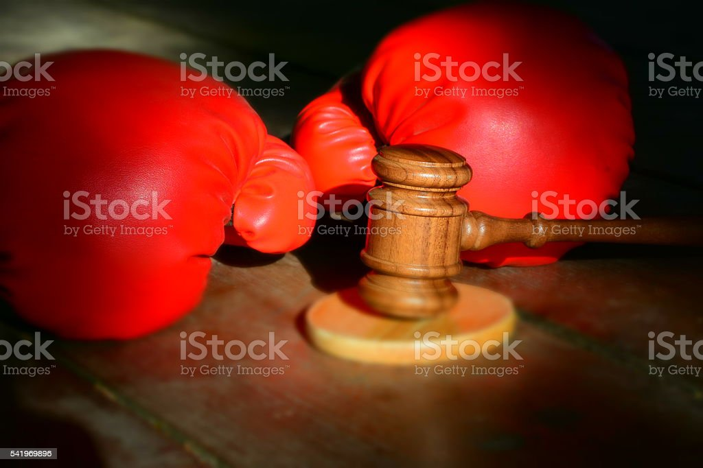 Judge Hammer and Boxing Gloves stock photo