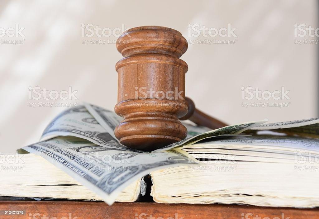 Judge hammer and money stock photo