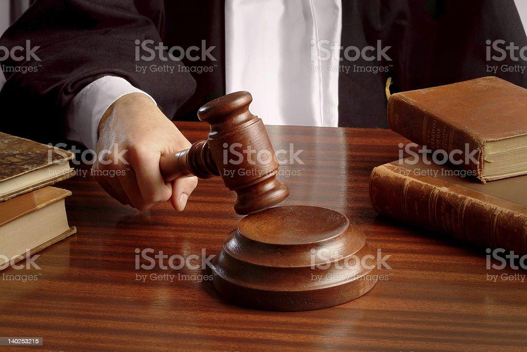 judge hand with gavel stock photo
