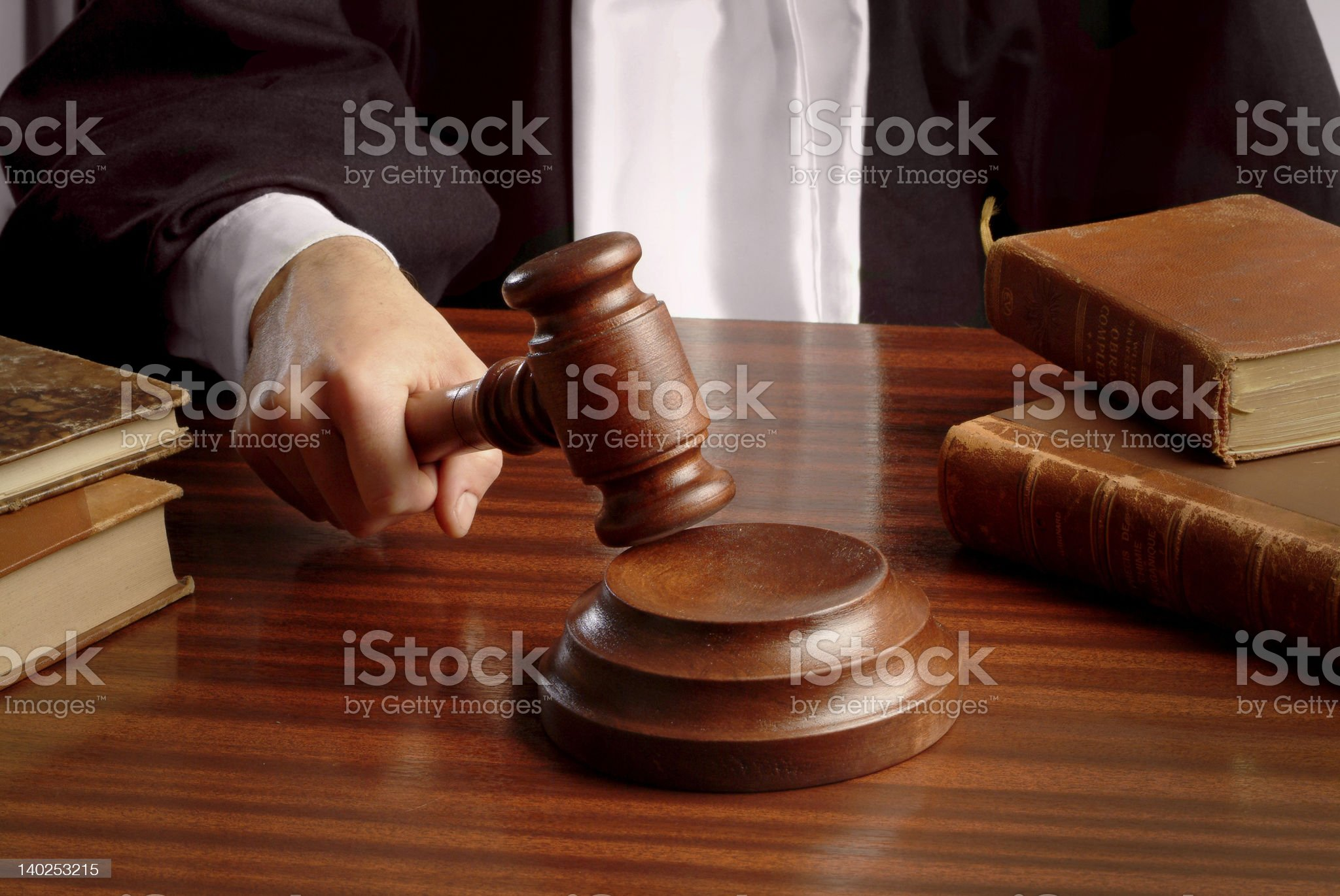 judge hand with gavel royalty-free stock photo