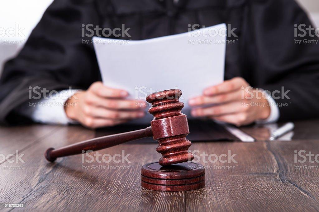 Judge Holding Documents stock photo