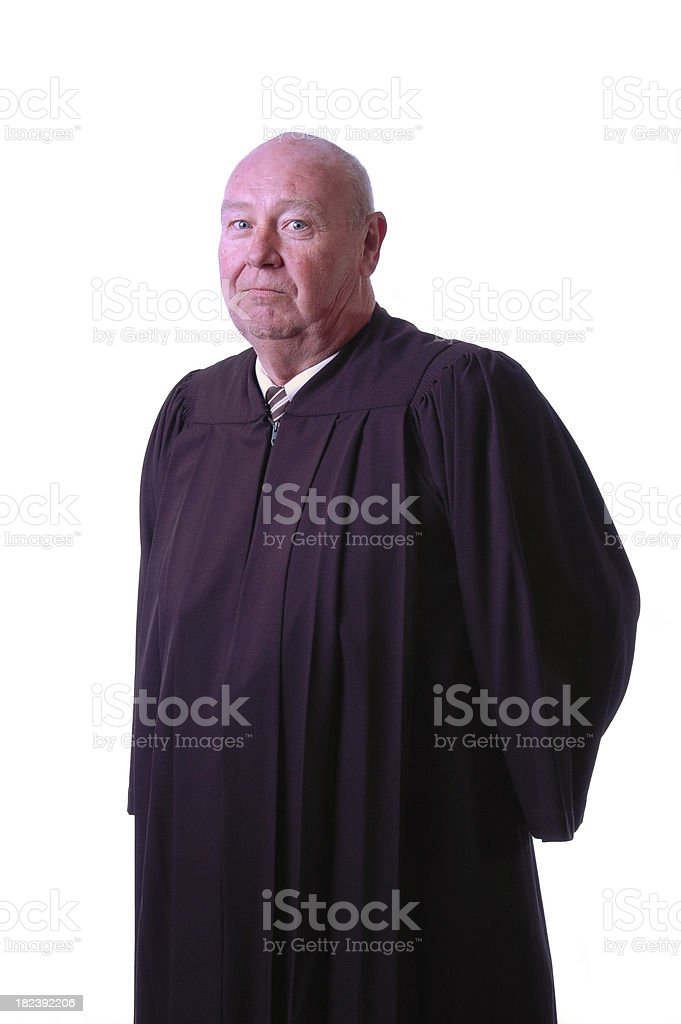Judge in Robes on White stock photo
