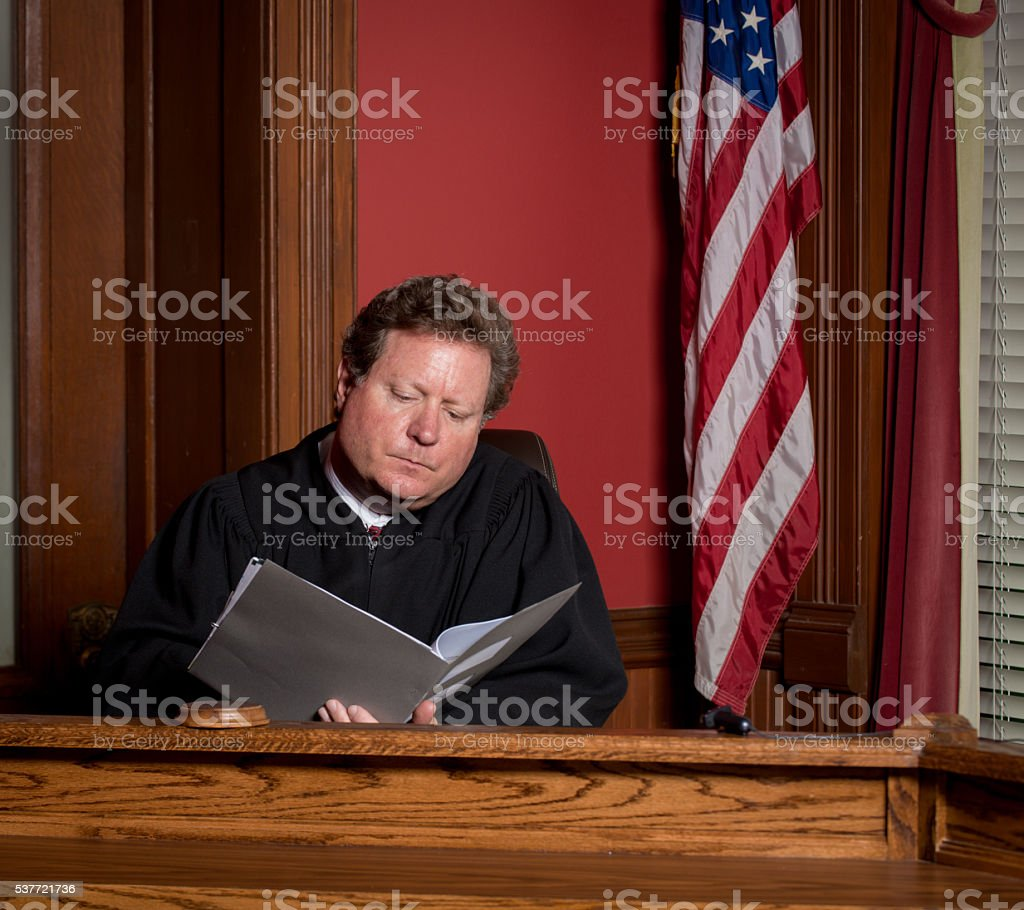 Judge Studying Documents stock photo