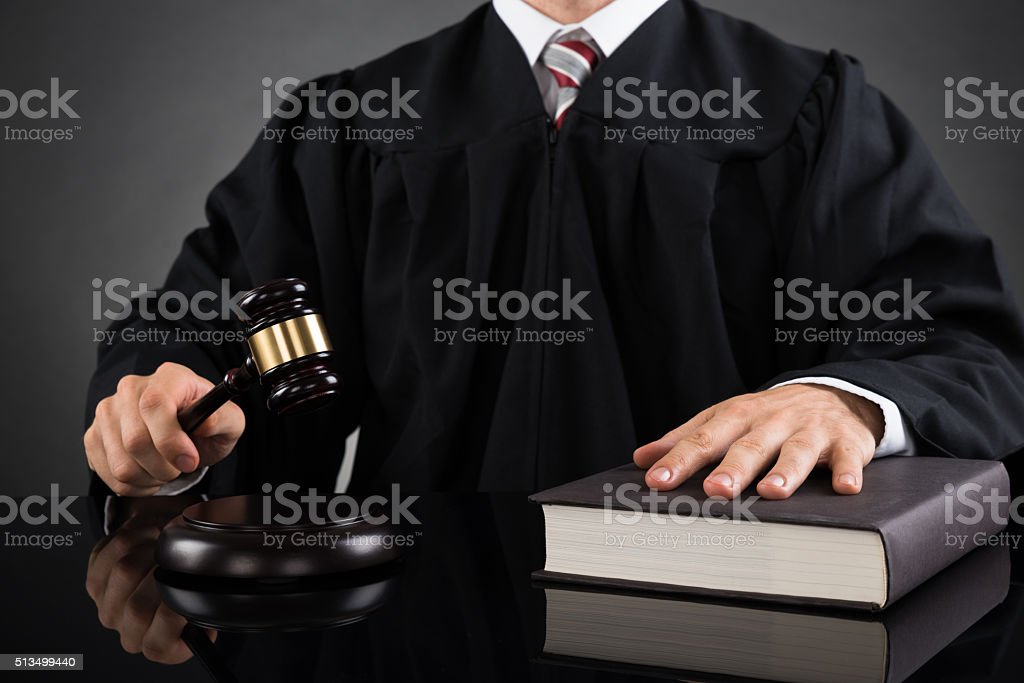 Judge With Gavel And Book stock photo