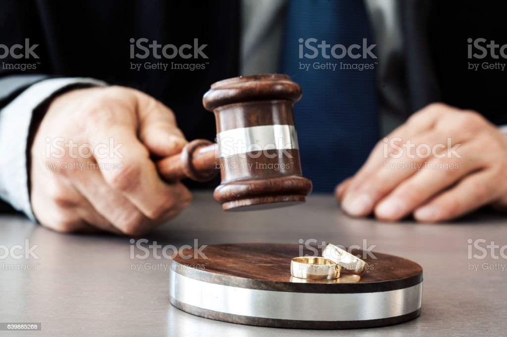 Judge with gavel on the table stock photo