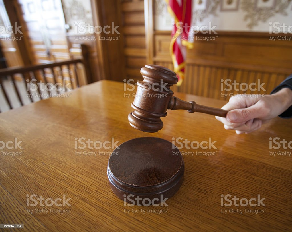 Judge with Gavel stock photo