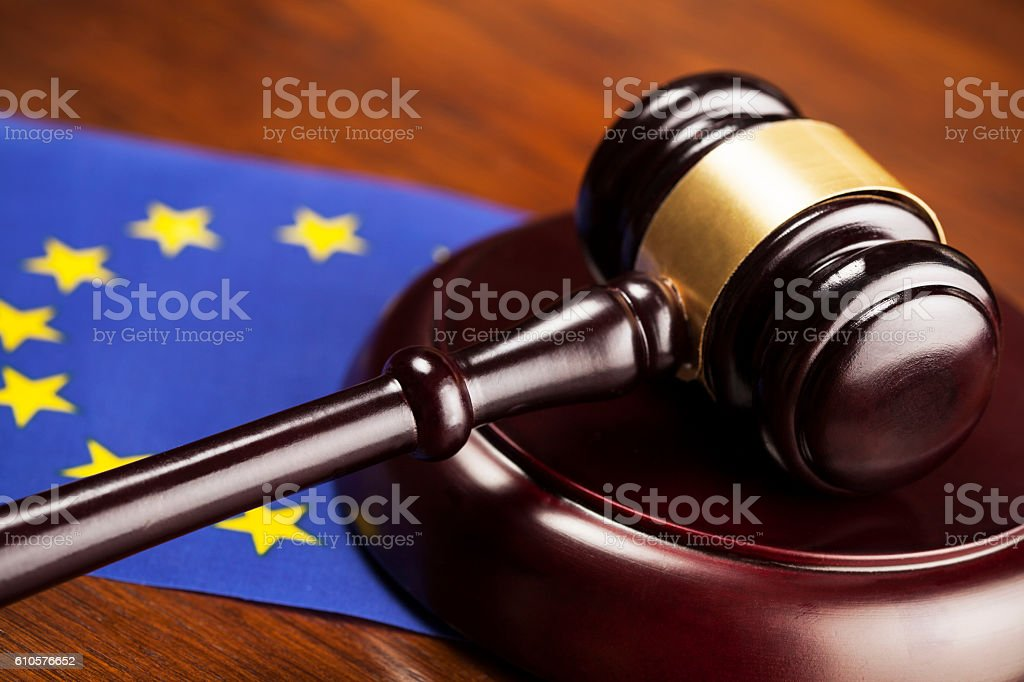 Judge's gavel and EU  flag stock photo