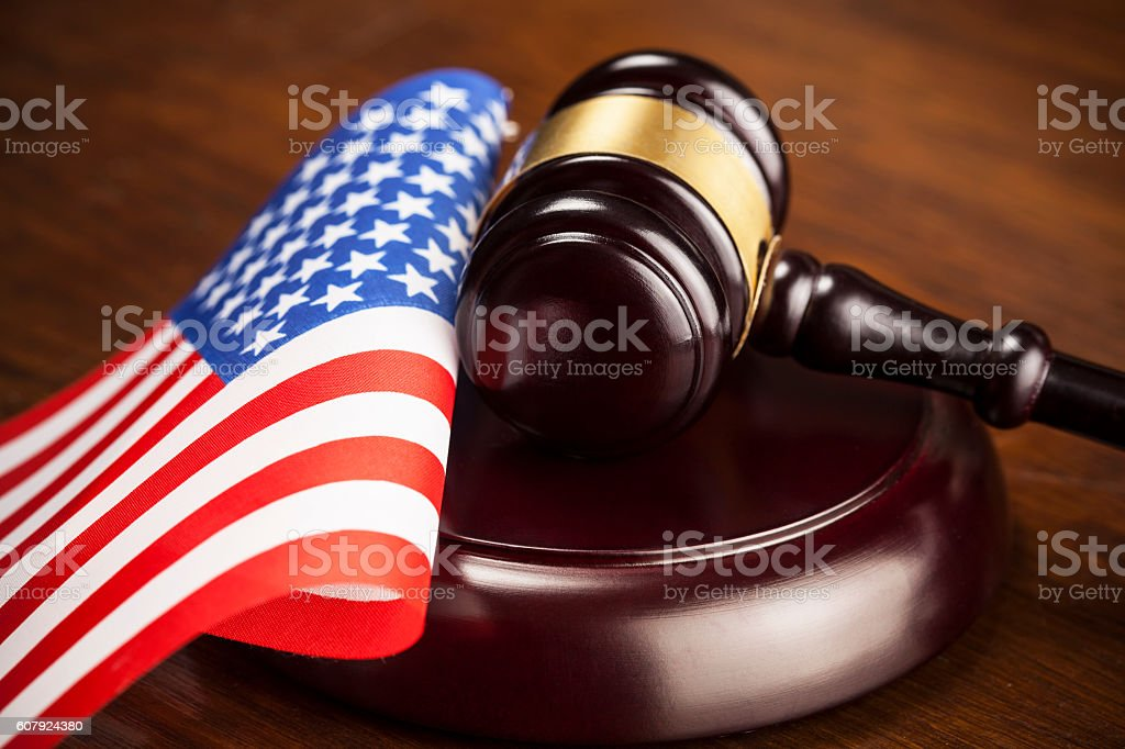 Judge's gavel and USA  flag stock photo