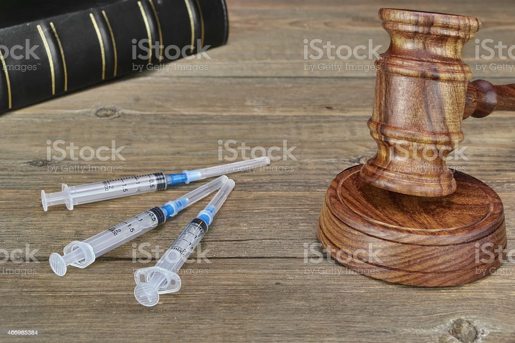 Judges Gavel,  Law Book,  Medical And Narcotic Drugs stock photo