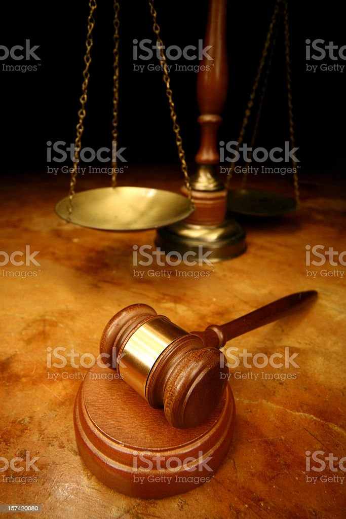 Judges Gavel & Scales of Justice royalty-free stock photo