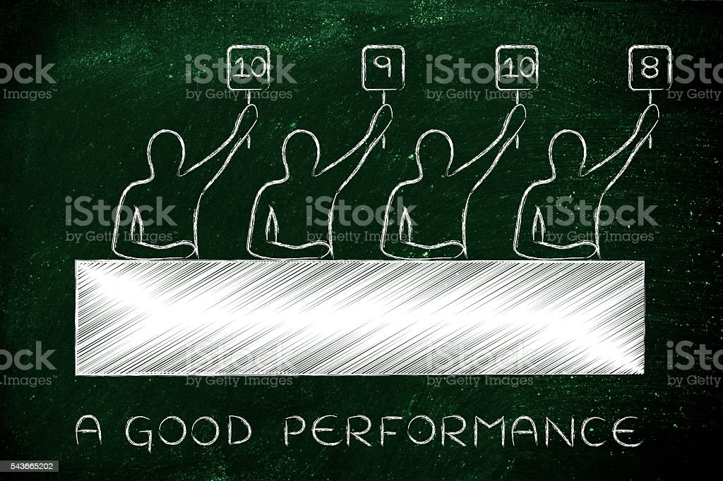 judges giving a great score, text A good performance stock photo