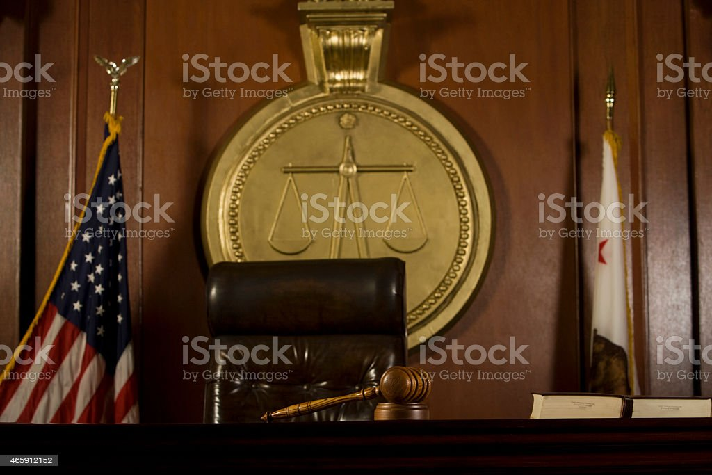 Judge's Seat And Gavel In Court Room stock photo