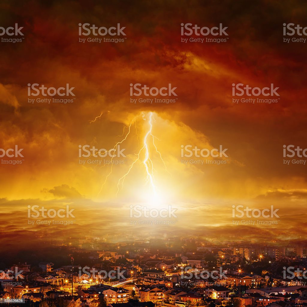 Judgment day, end of world stock photo