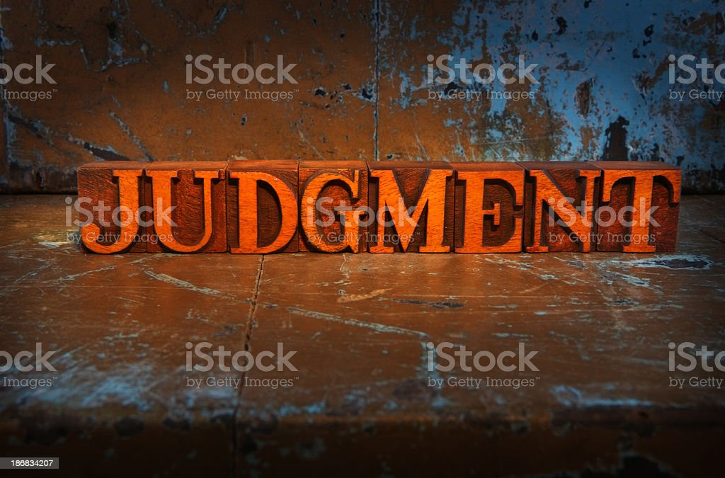 Judgment -Lit up word stock photo