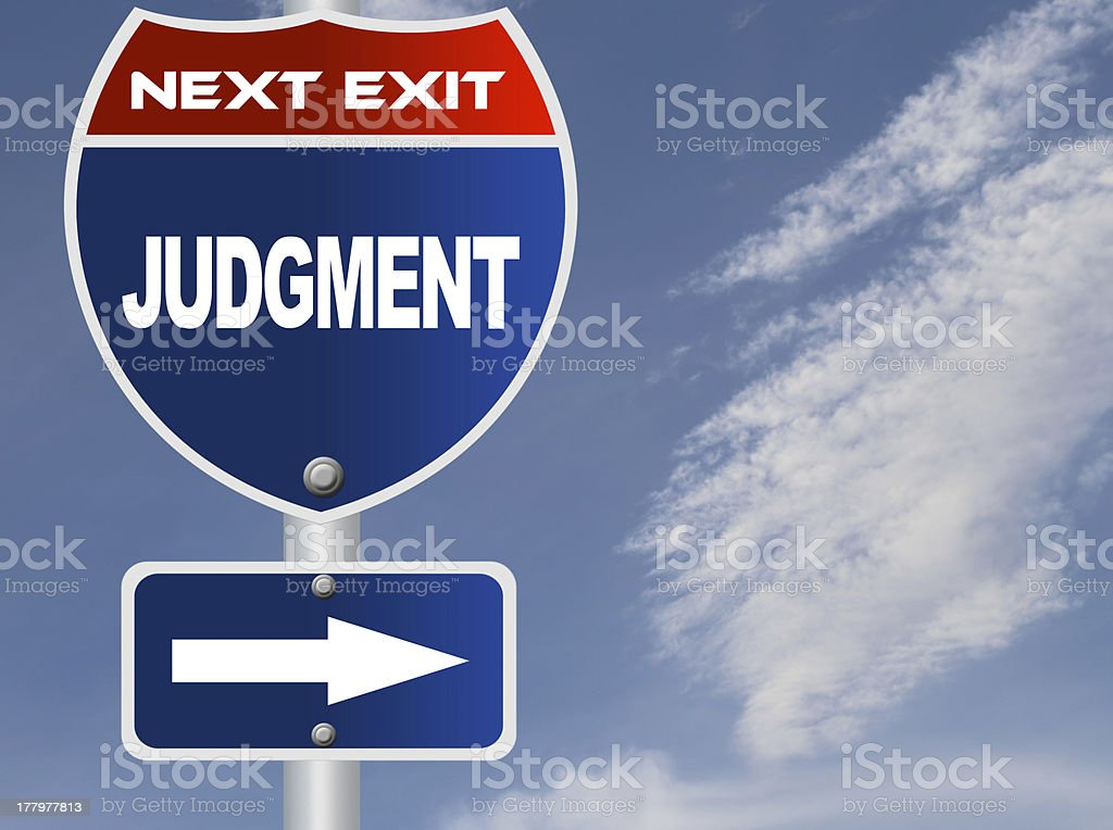 Judgment road sign stock photo