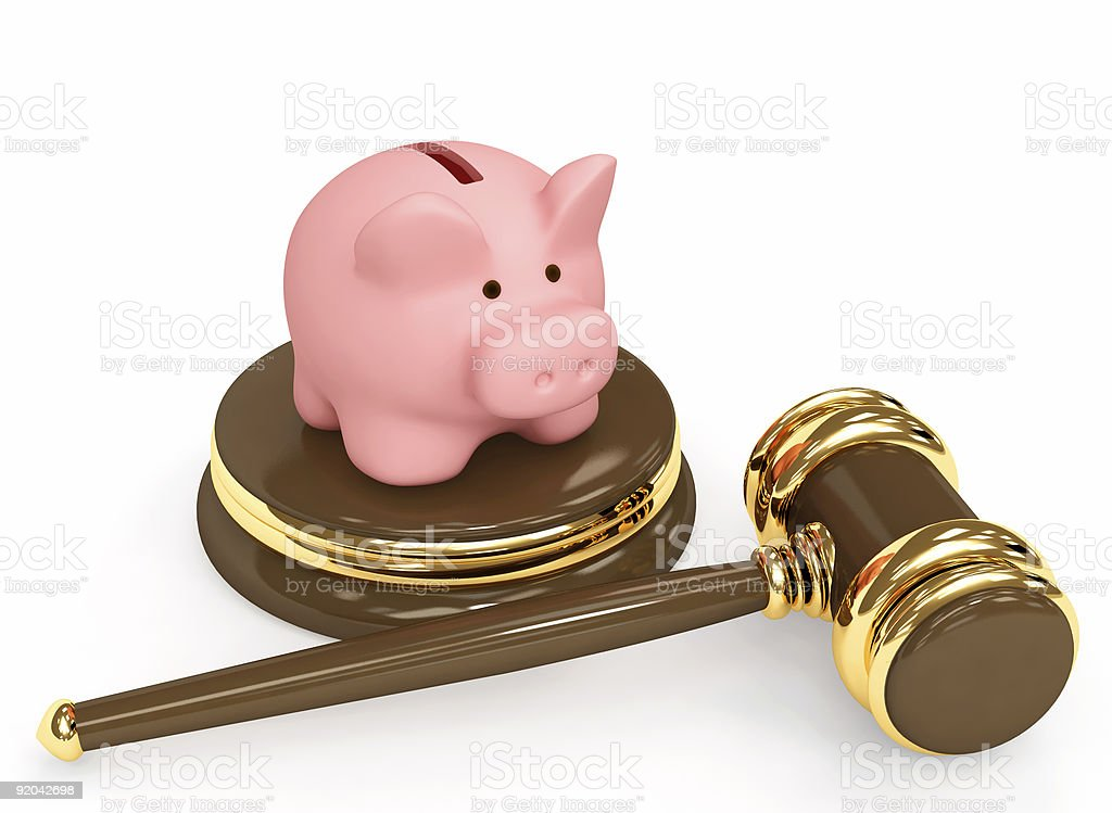 Judicial 3d gavel and piggy bank royalty-free stock photo