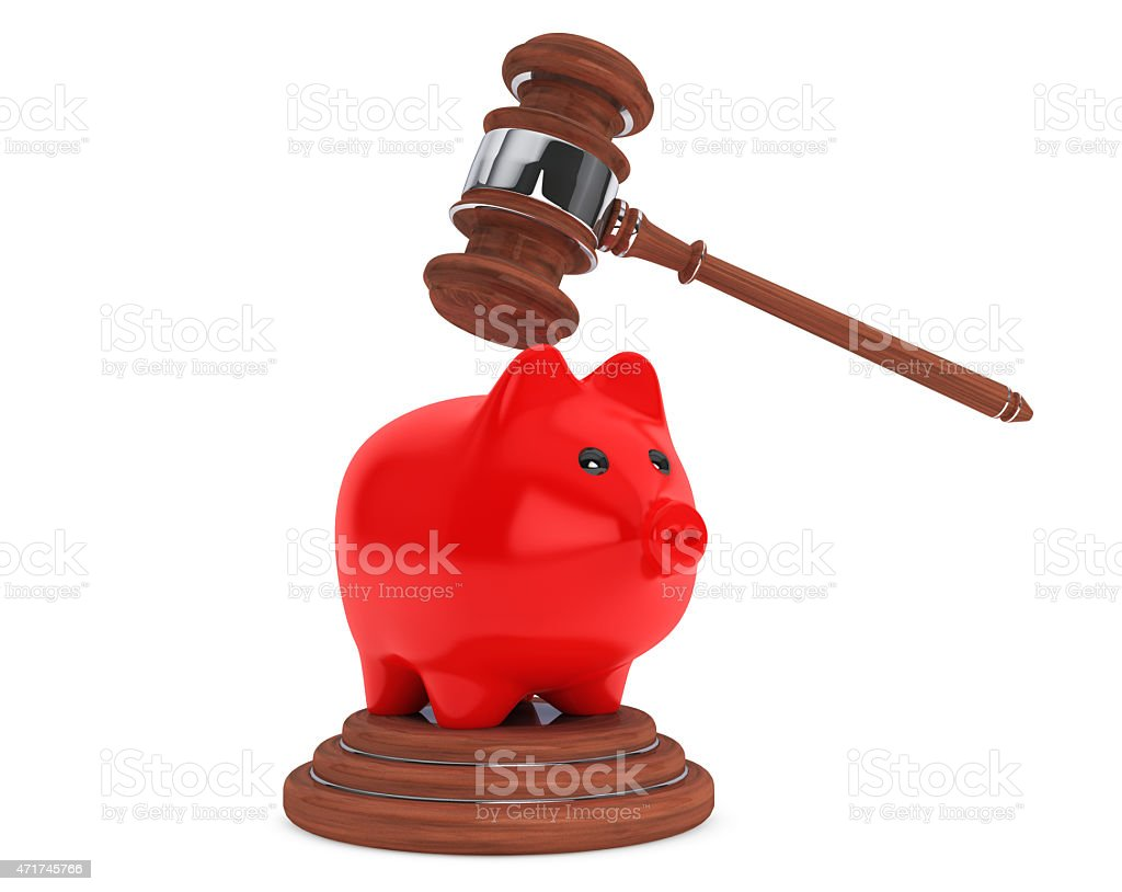 Judicial gavel and piggy bank vector art illustration