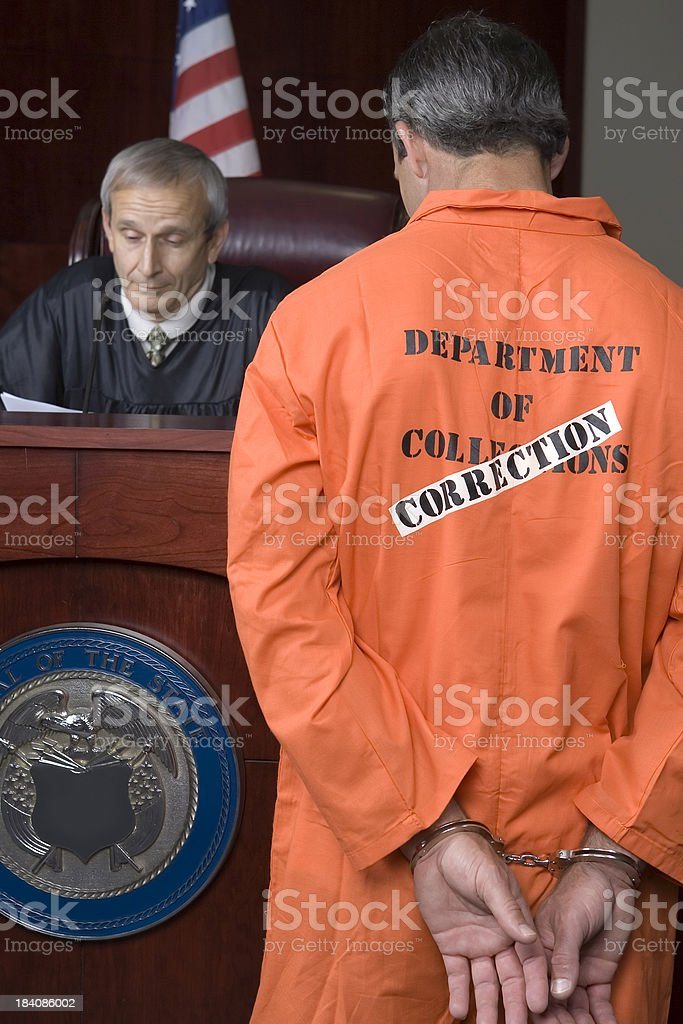 US Judicial System-judge reviewing papers stock photo