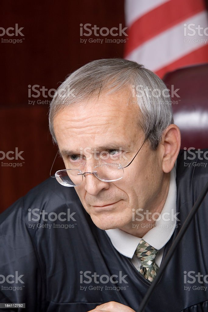 US Judicial System-stern judge portrait stock photo