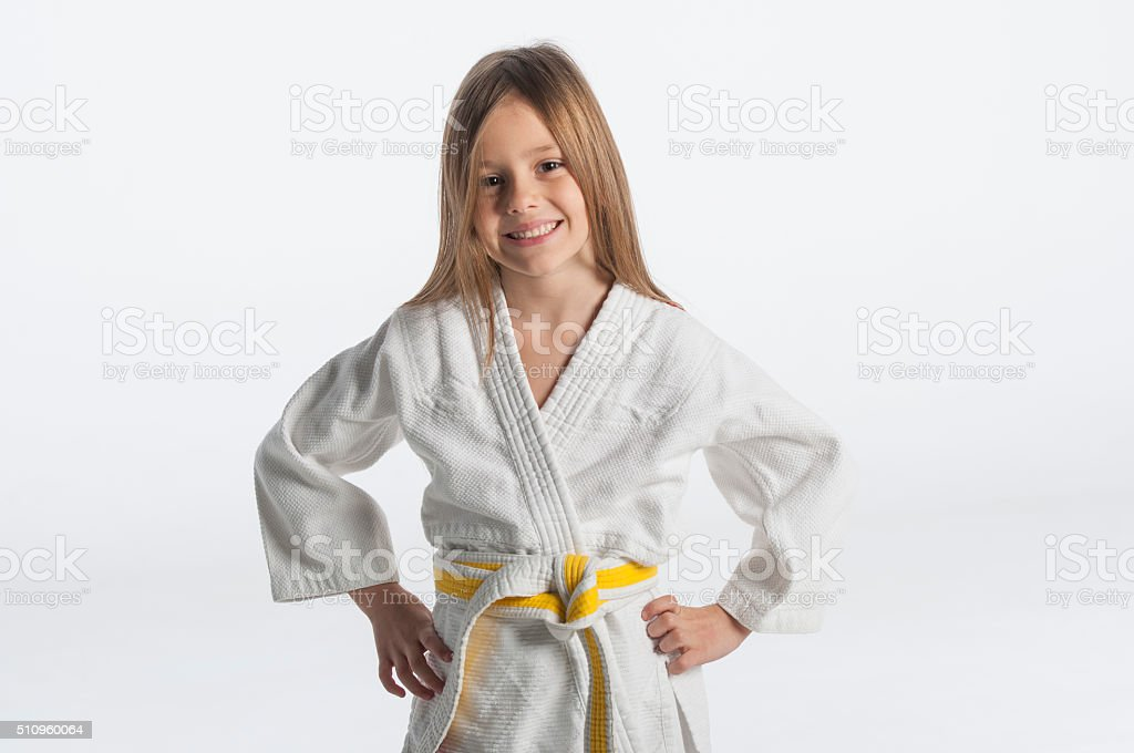 Judo little girl stock photo