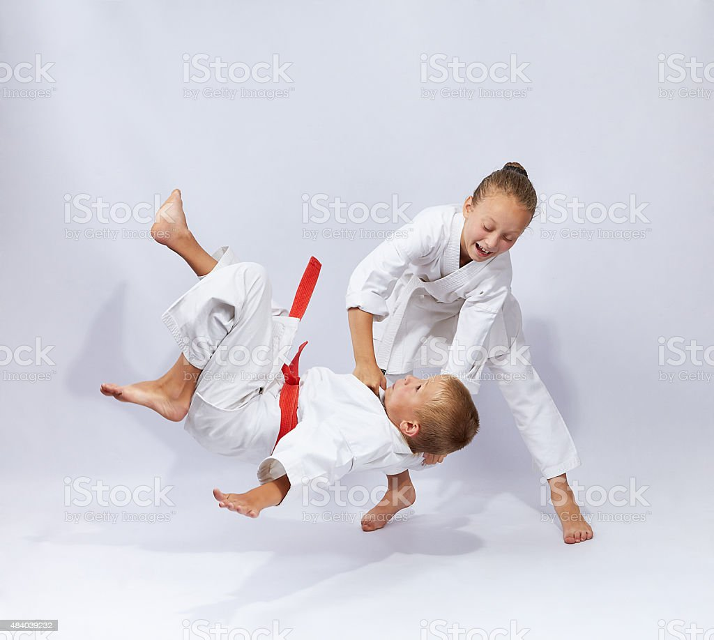 Judo throw in perfoming young athletes stock photo