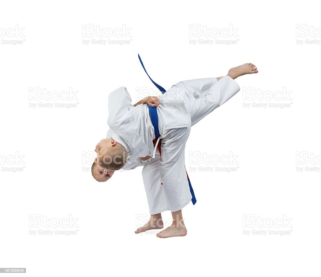 Judo throws in perfoming athletes in judogi stock photo