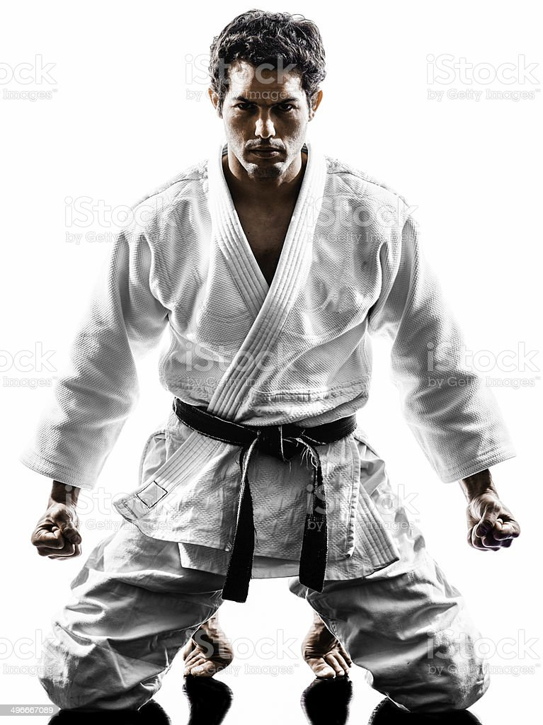 judoka fighter man silhouette stock photo