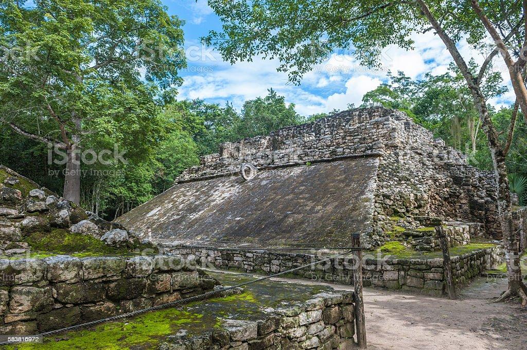Juego de pelota, Mayan ballgame field, Coba, Yucatan, Mexico stock photo