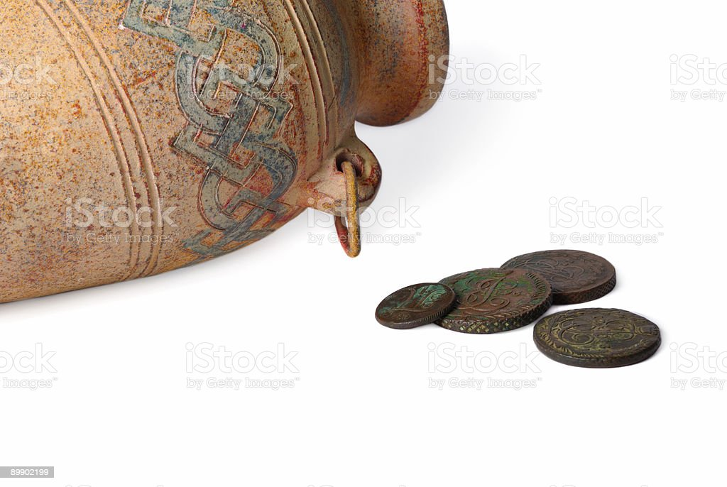 Jug And Coins royalty-free stock photo