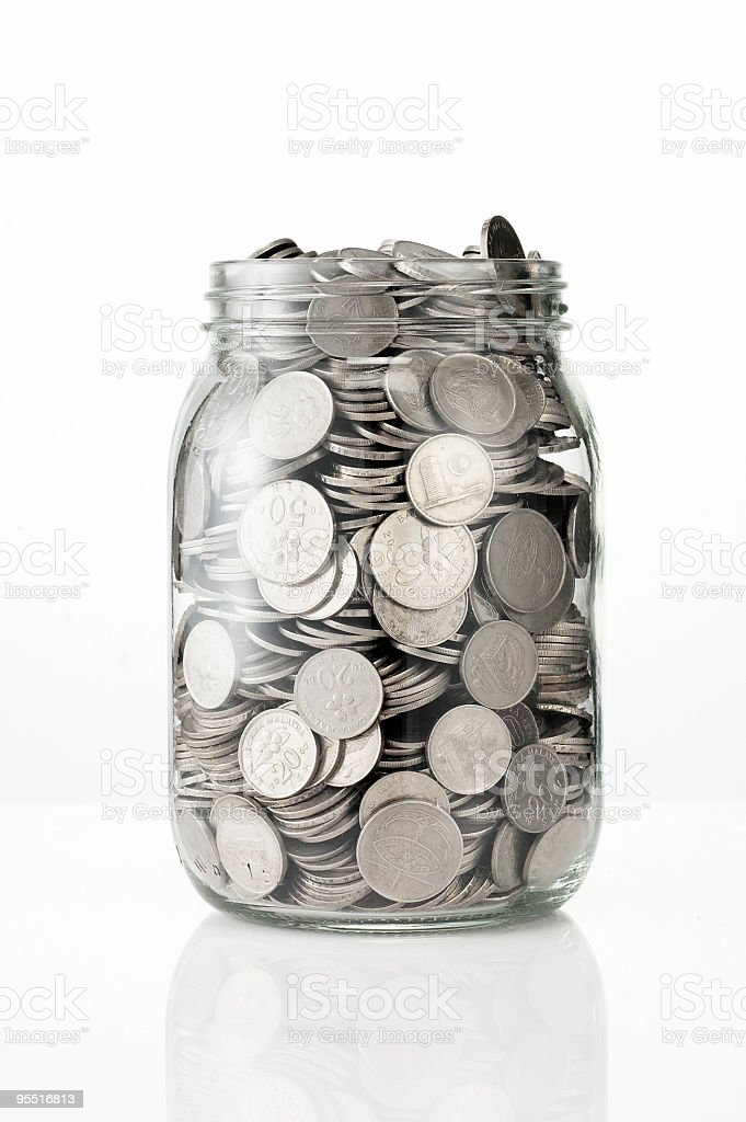 Jug of coin stock photo