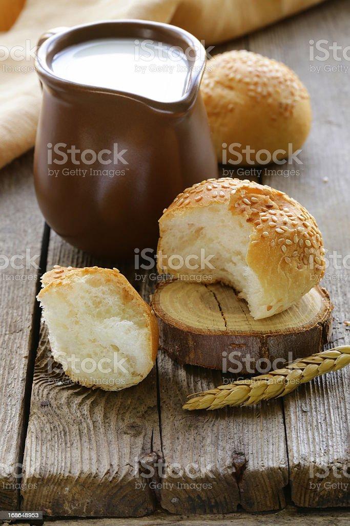 jug of fresh milk and bread - rustic still life royalty-free stock photo