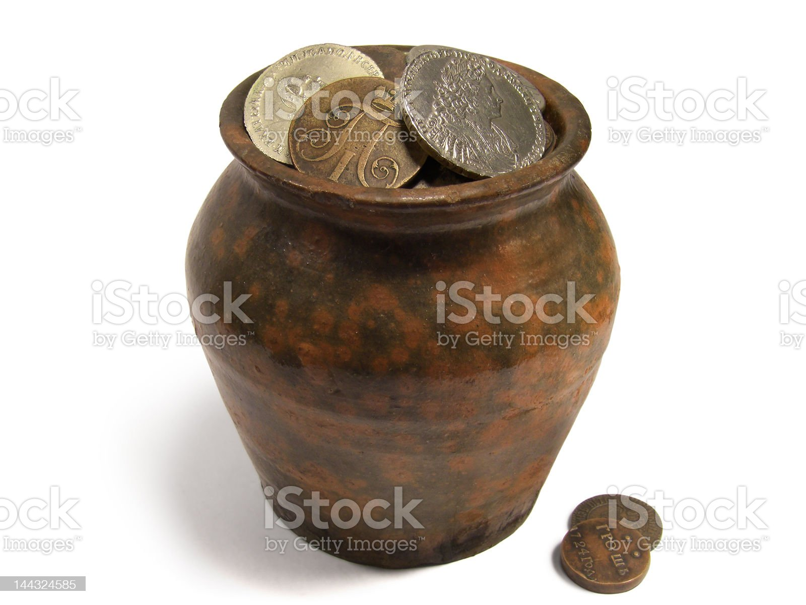 Jug of Old Coins royalty-free stock photo