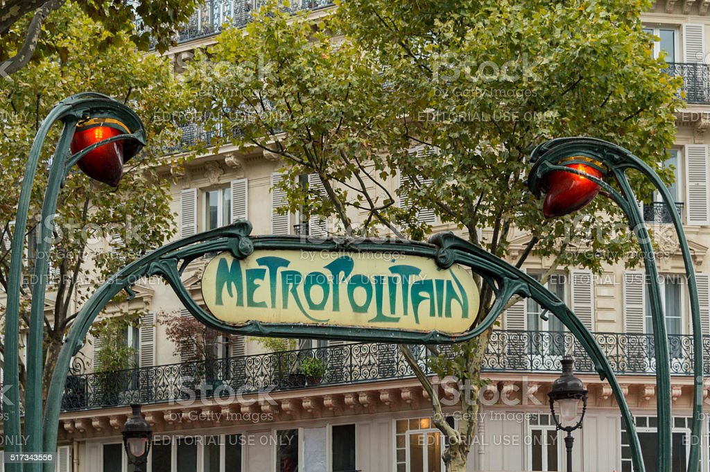 Jugendstil metro sign in Paris, France stock photo