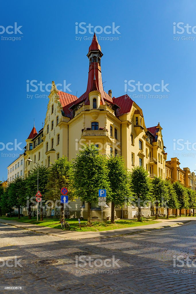 Jugenstils art nouveau architecture stock photo
