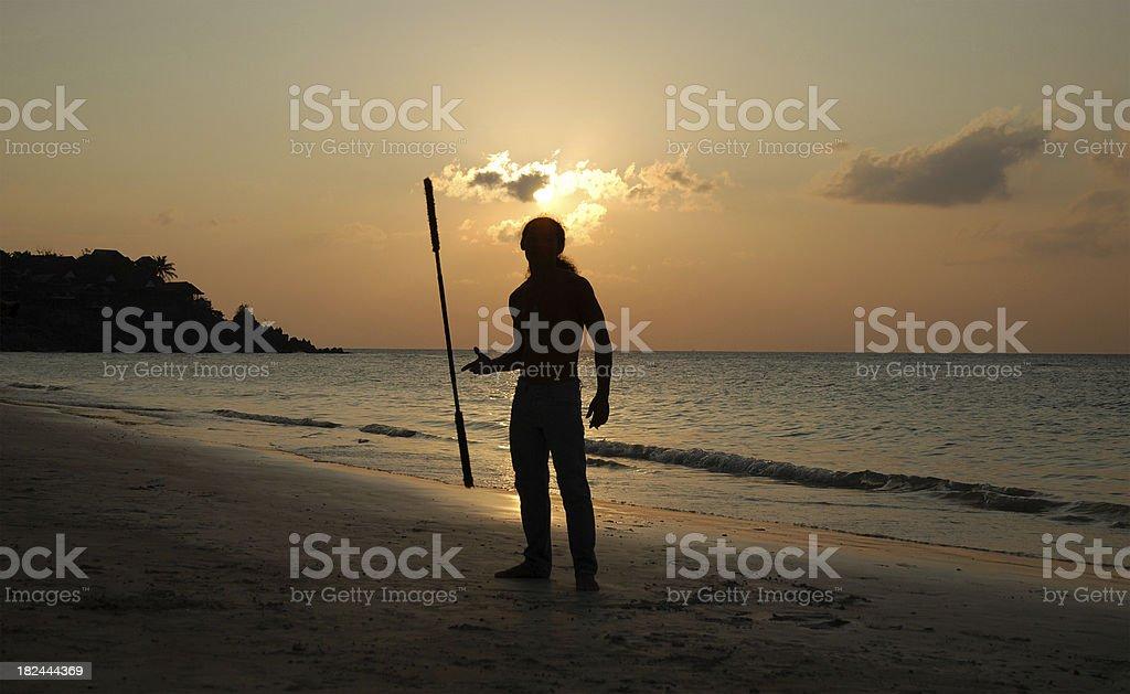 Juggler in sunset royalty-free stock photo