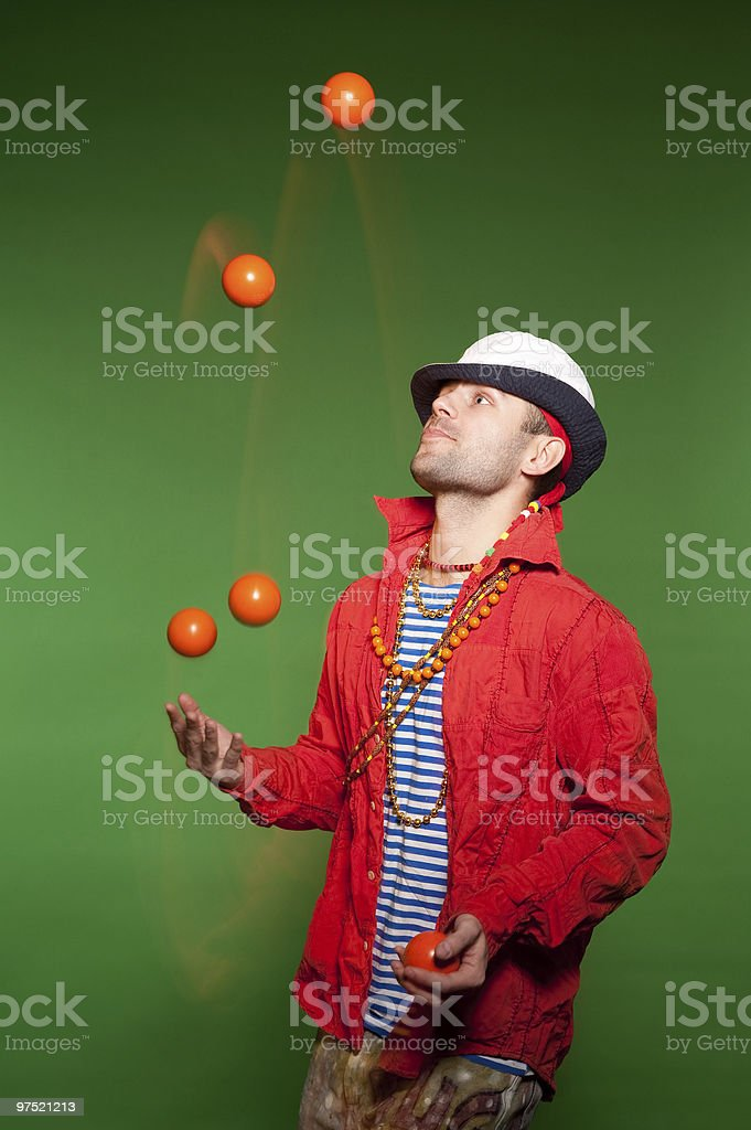 Juggler performance stock photo