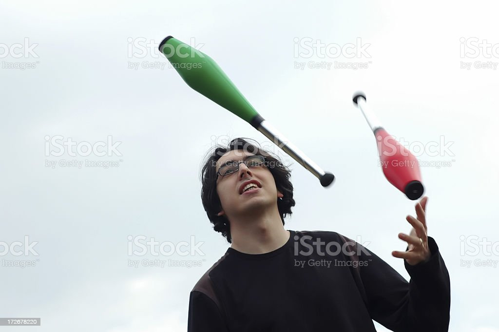 juggler with clubs royalty-free stock photo